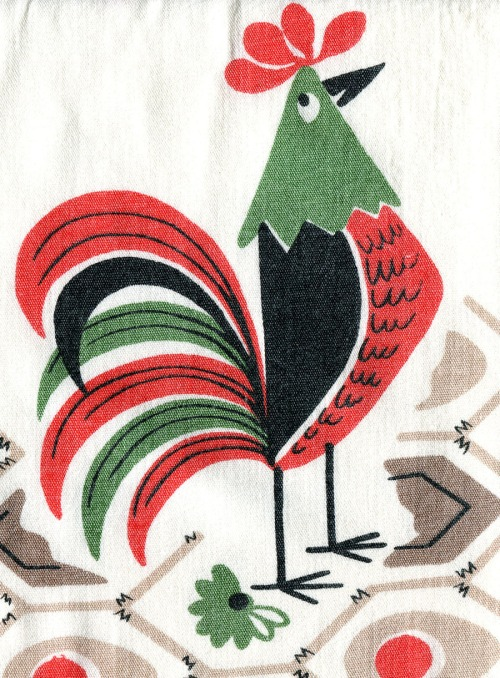 rooster from a vintage tablecloth