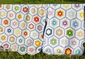 Grandmother's Flower Garden quilts