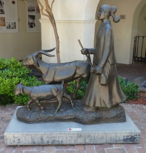 Girl with Goats sculpture