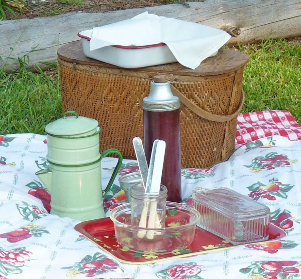 vintage thermos, coffee pot, serving dishes