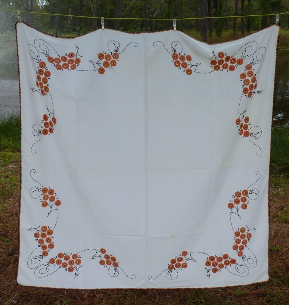 tablecloth with orange and black