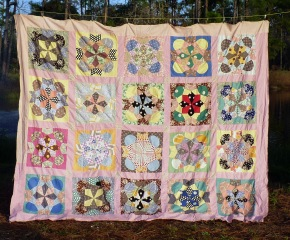 vintage pink quilt top