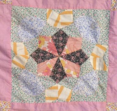 pink quilt top detail