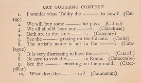 1905 cat contest word game