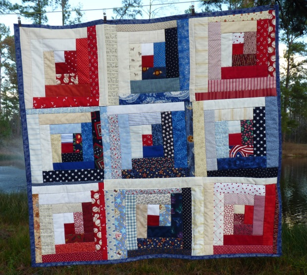 red, white, and blue lap quilt