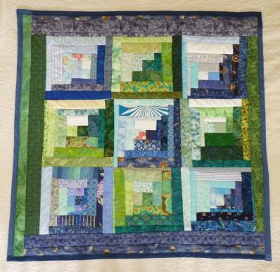 finished blue lap quilt