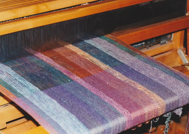painted warp on loom