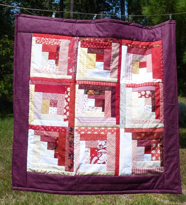 red lap quilt