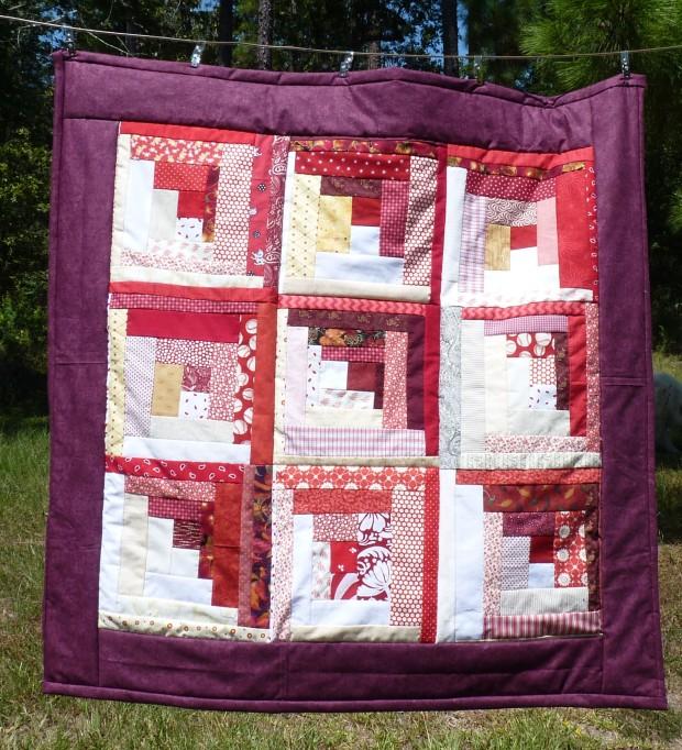 red lap quilt