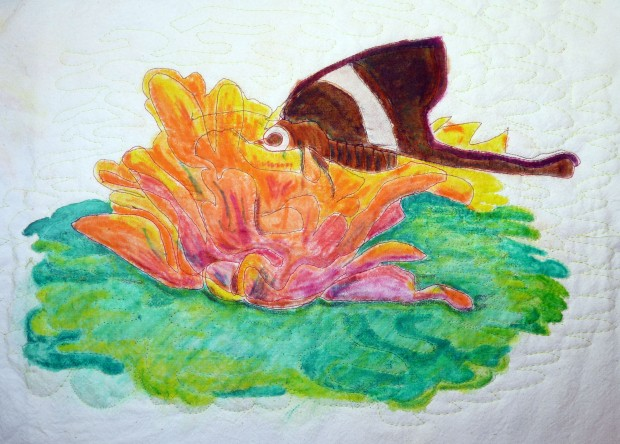 The next day, I reworked the colors, dipping the pencils in water.