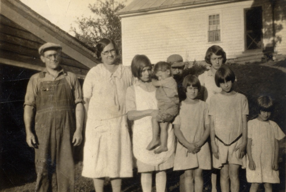 family in flour sack clothing