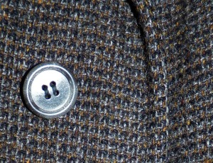 button and tweed fabric