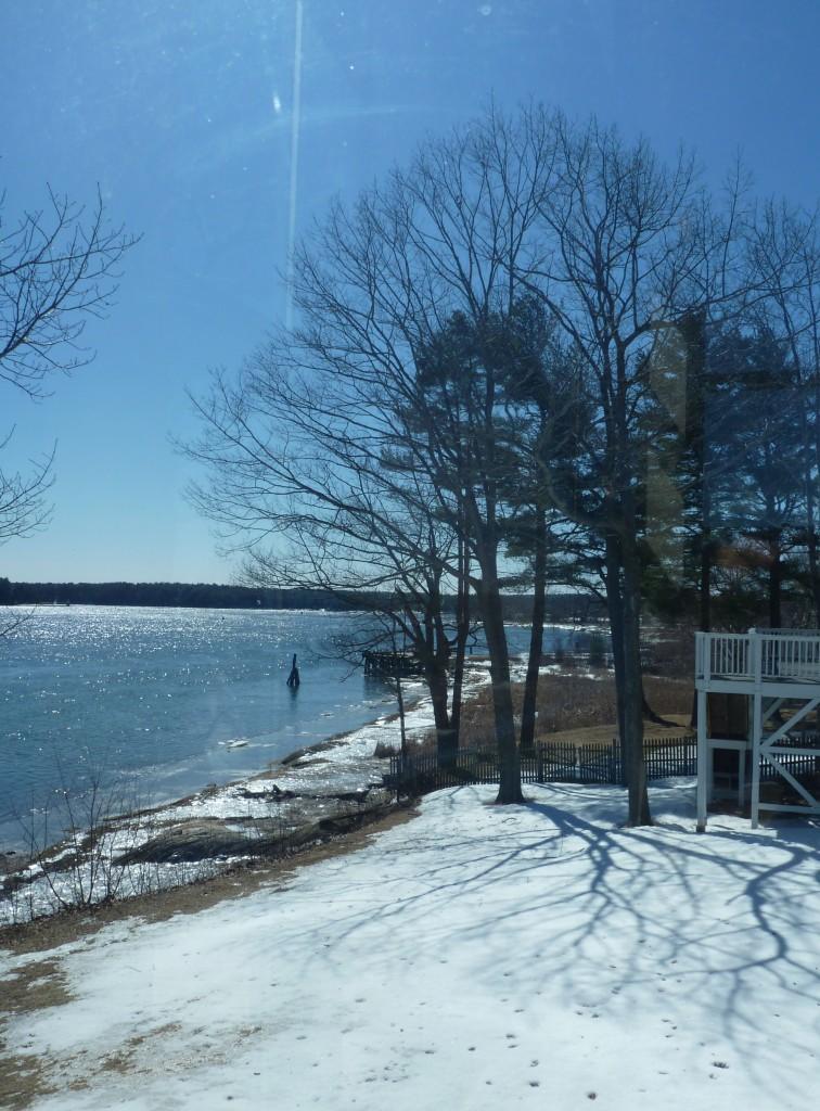 shoreline and snow