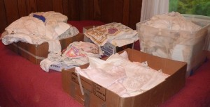 boxes of vintage linens