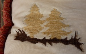 trees on pillow
