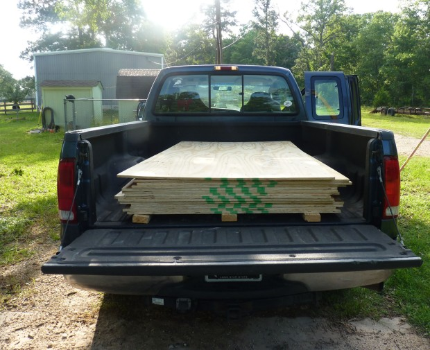 plywood in truck bed