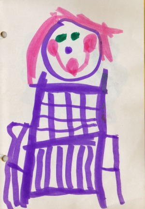 My daughter drew this of me, when she was five.  She showed the warp away from me, and the woven cloth close to me!