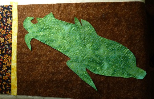 Fusible webbing attached the leaves to the background.