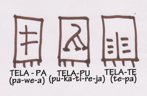 Linear B cloth signs, based on Brendan Burke