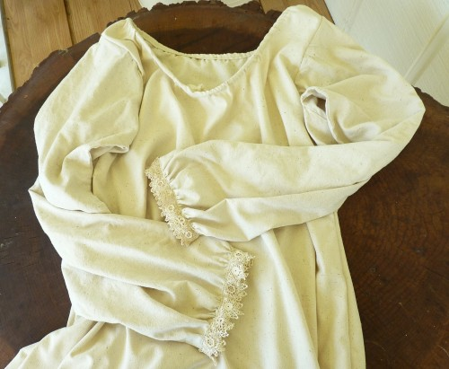 Wench's shift from vintage raw silk and lace.
