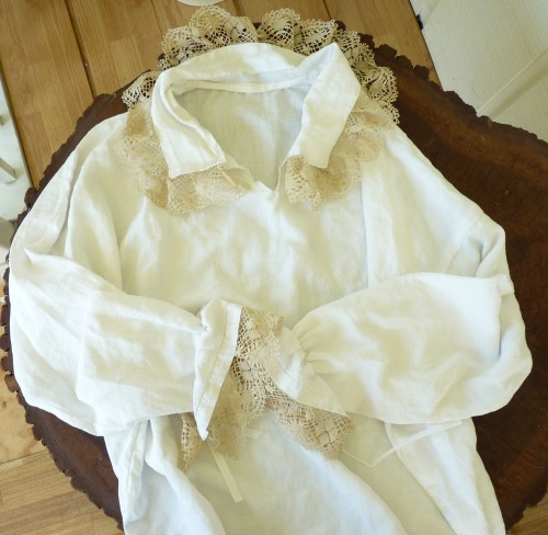 Pirate shirt from vintage linen and lace.