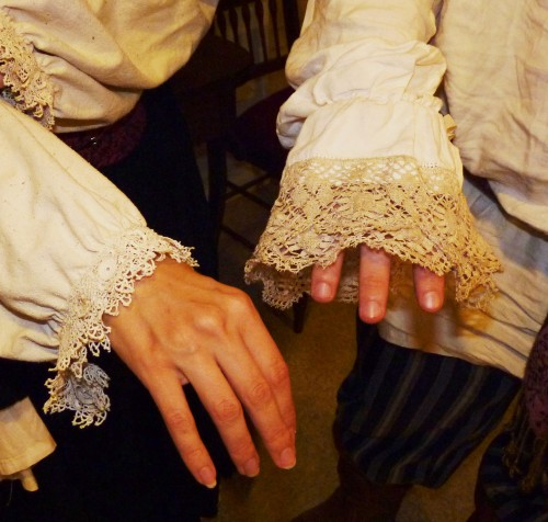 Detail of the lace around the cuffs.
