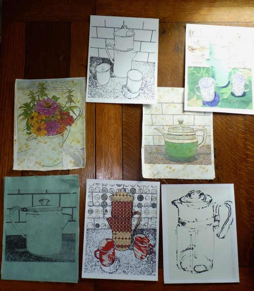 Material for future projects - outlines, digital collages, and printed images.