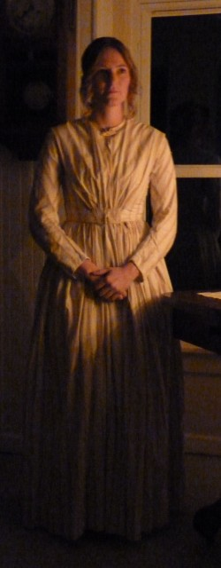 1800s cotton dress by candlelight.