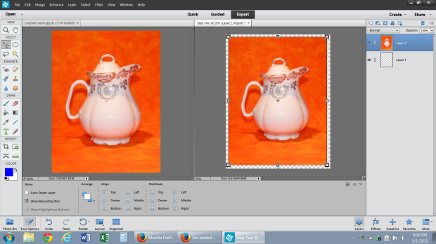 The original photo is on the left.  I never work with the original, I always copy it to a new transparent base layer.