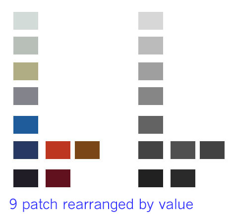 These color samples are rearranged to better reflect their values.