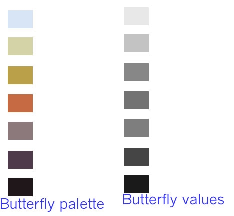 Colors picked from the butterfly quilt are converted to black and white to show the range of values.