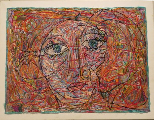 Red Thread by Irene Schlesinger, 2014, embroidery on canvas.