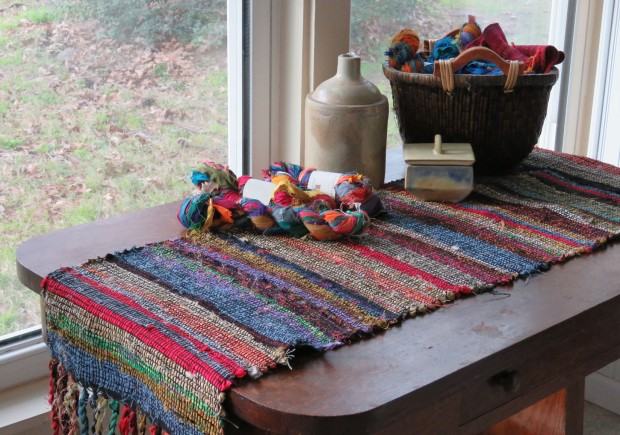Hit-or-miss table runner from silk sari ribbon.