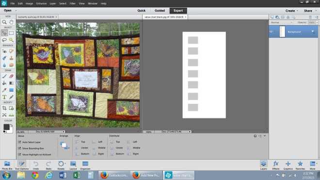 I picked colors from the quilt photo and copied them to the gray rectangles to make a palette.