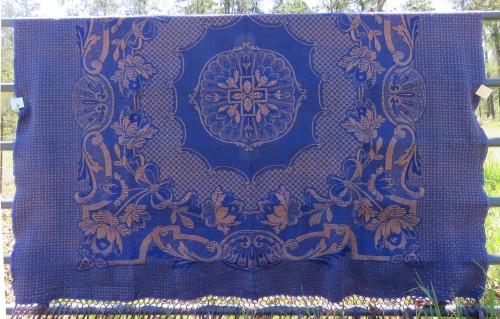 Blue bedspread.