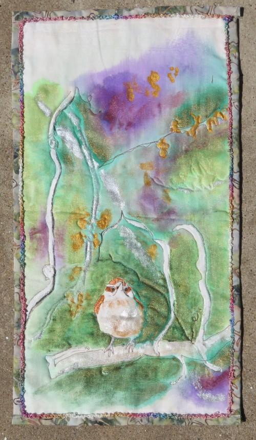 Wren quiltlet with Lumiere paints.