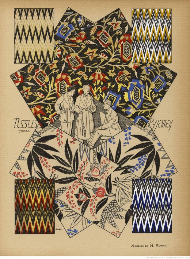 Pyjama fabrics from Monsieur magazine, 1921.