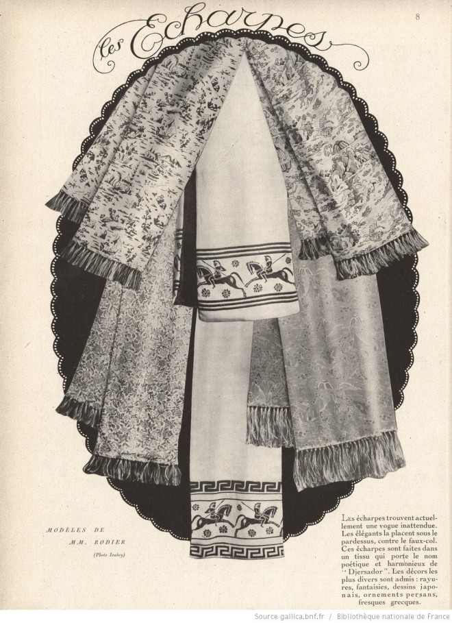 Scarves from 1920, in Monsieur magazine.  Notice the Greek warriors!