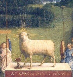 """Agnus Dei Ghent"" by Hubert and Jan van Eyck - Jan van Eyck painting ""Ghent Altarpiece"", finished 1432.. Licensed under Public Domain via Wikimedia Commons - https://commons.wikimedia.org/wiki/File:Agnus_Dei_Ghent.jpg#/media/File:Agnus_Dei_Ghent.jpg"