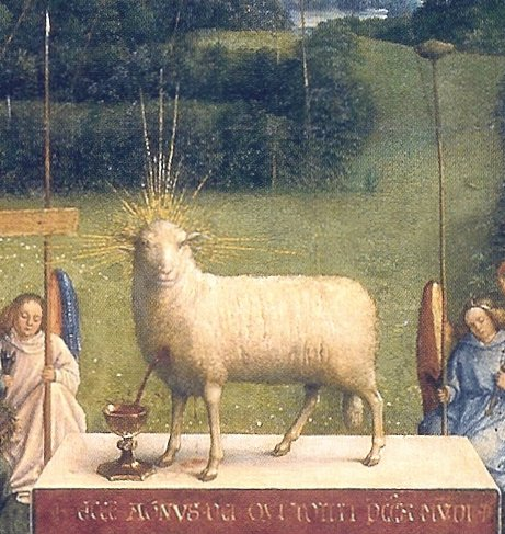 """Agnus Dei Ghent"" by Hubert and Jan van Eyck - Jan van Eyck painting ""Ghent Altarpiece"", finished 1432.. Licensed under Public Domain via Wikimedia Commons - https://commons.wikimedia.org/wiki/File:Agnus_Dei_Ghent.jpg#/media/File:Agnus_Dei_Ghent.jpg"