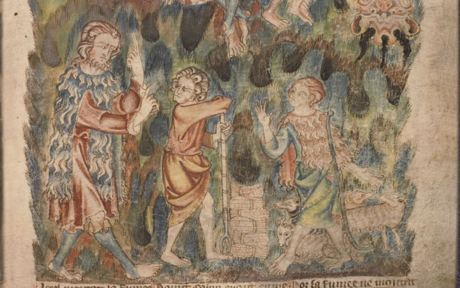 Detail from page above. Here the Biblical shepherd Abel has quite a flock, and he and Adam are wearing sheepskin clothes. Brother Cain, a farmer, is not.