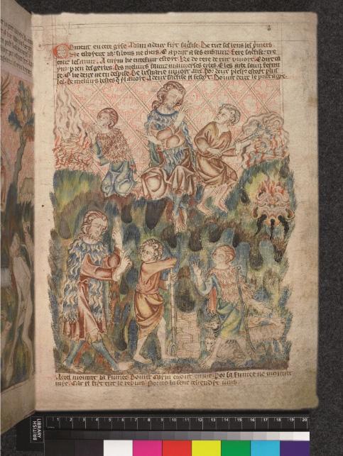 Cain and Abel from the Holkham Bible Picture Book, p. 5r, from the British Library.