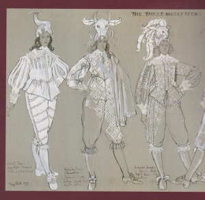 From The Three Musketeers, 1973. Costumes designed by Yvonne Blake, illustrated by May Routh.