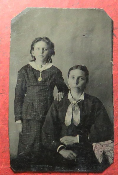 Tintype of girl with woman, circa 1860s?