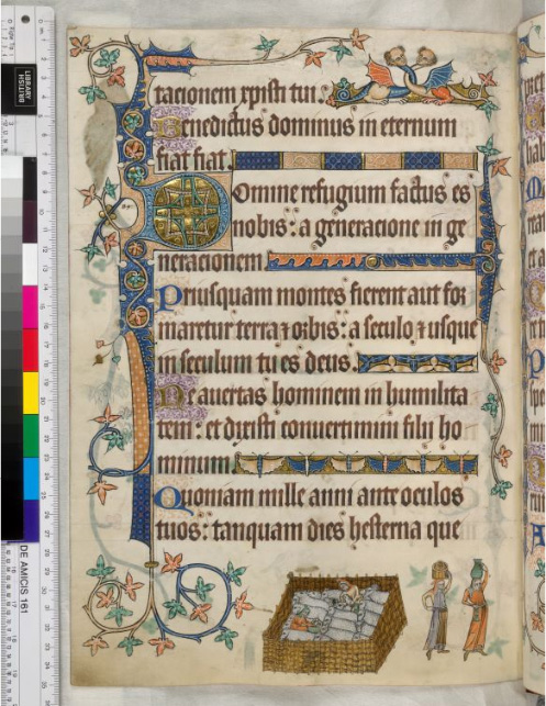 This is page 163 v from the Luttrell Psalter of 1325 - 1340 AD, from the British Library.