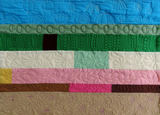 More rows of free-motion quilting practice.