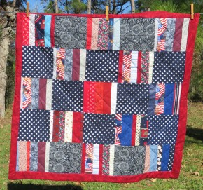 I used up the most of my red, white, and blue scraps.