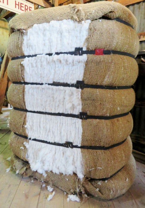 This cotton bale was baled at the 2015 Cotton Gin Festival.