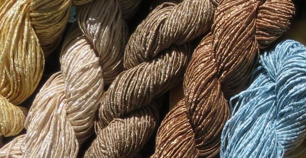 Berroco Captiva -- cotton, polyester, and acrylic.