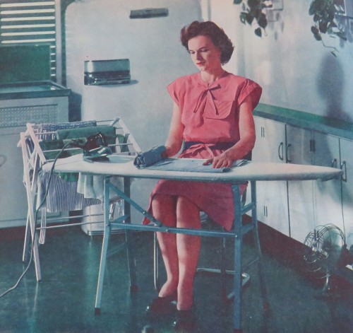 """You Can Enjoy Ironing"" article. Although it really doesn't look like she is."